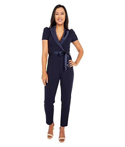 Adrianna Papell Suited Crepe Jumpsuit with Short Sleeves, Slim Pants, and Stretch Charmeuse Collar (Midnight) Women