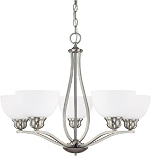 Capital Lighting 4035BN-212 Chandelier with Soft White Glass Shades, Brushed Nickel Finish
