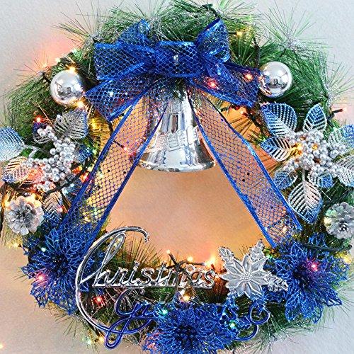 Décorations de Noël Couronnes de Noël ornements en or rouge ornements de cadre de porte 45cm ( Couleur : Bleu , taille : 35cm )