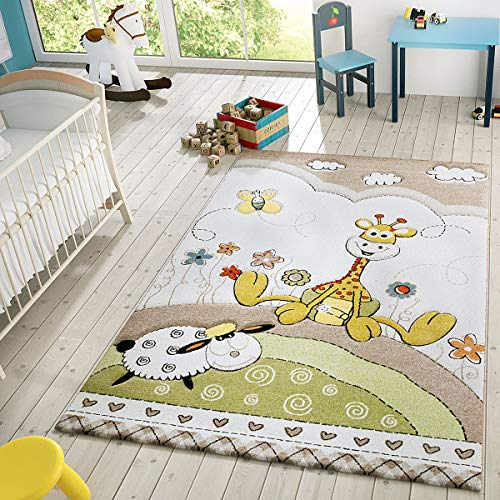 Kinder Teppich Moderner Spielteppich Giraffe Blumen Pastell Töne In Beige Creme, Größe:120x170 cm