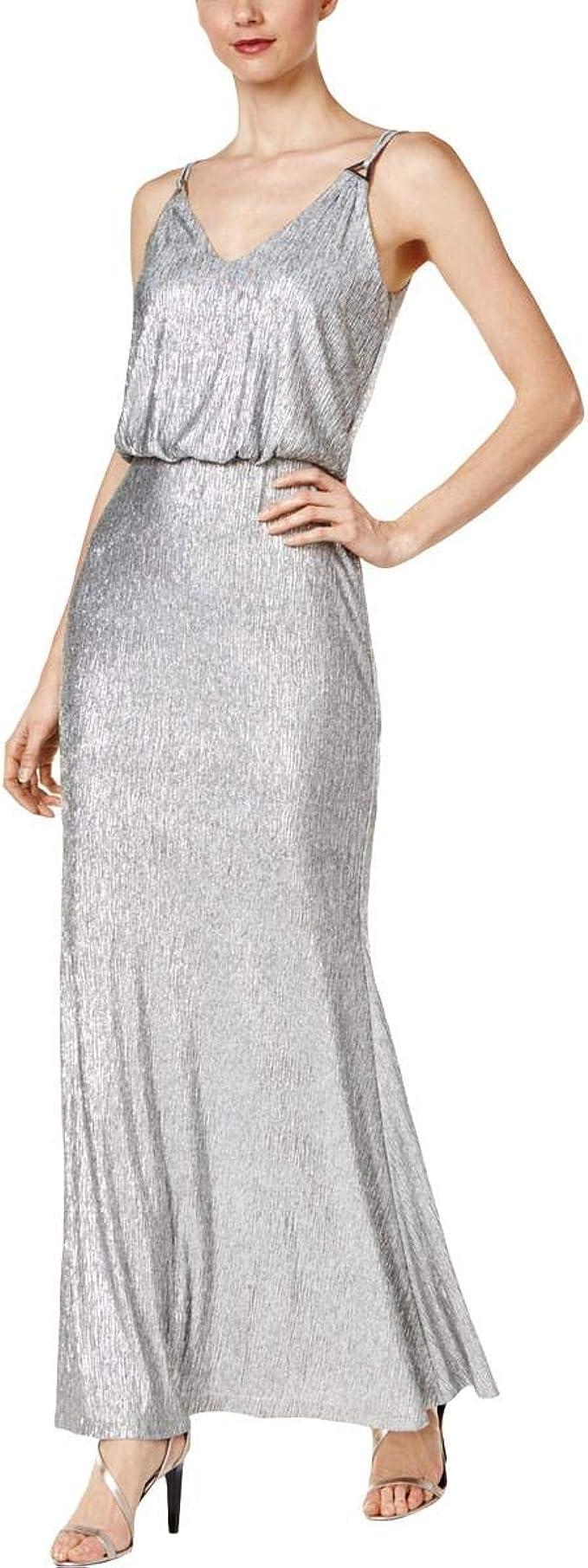 Calvin Klein Damen Abendkleid, V Ausschnitt, silberfarben, Größe ...
