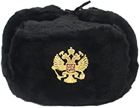 Russian Hat Ushanka Military Cossack w/Imperial Eagle Black Size M (58)