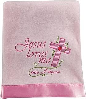 Jesus Loves Me Fleece Throw 30 X 40 Pink 30X40