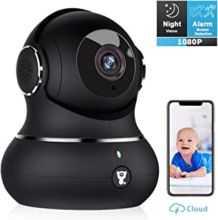 Wireless Home Security Camera, Littlelf Smart 1080P Pet Surveillance Wifi Indoor IP Camera for Baby/Elder/Nanny Monitor with Motion Tracking, 2-Way Audio, Work with Alexa and Manually Night Vision