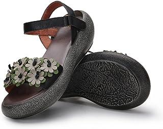 YNXZ-SHOE Ms Heel Sandals, Round Head Cowhide Fashion Sandals, Retro Creative Comfortable Rubber Foam Bottom, Wear-Resistant Breathable Single Shoes, 2 Colors (Color : Black, Size : 35)