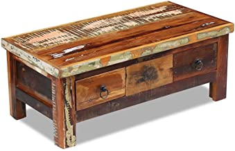 Festnight Rustic Coffee Table with 2 Drawers Reclaimed Wood Tea End Side Table Storage Cabinet Box Pure Handmade for Home Office Living Room Furniture