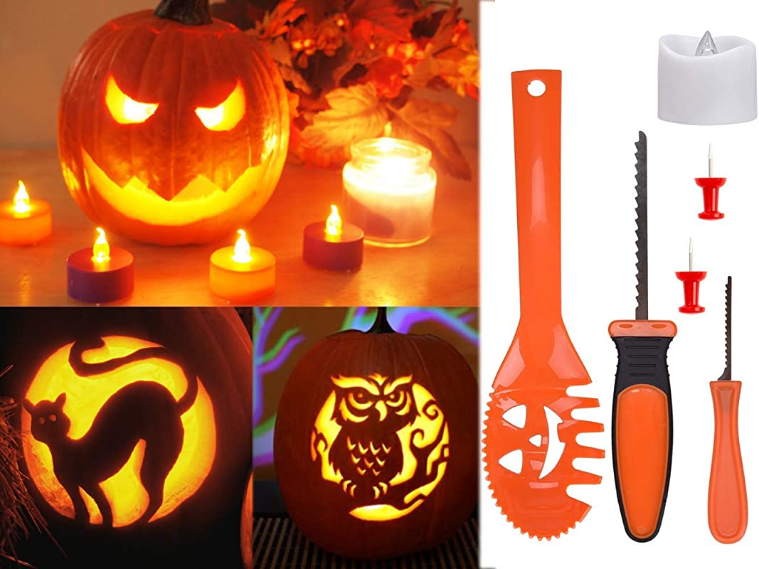15 Pieces Pumpkin Carving Kit DealKits Professional Pumpkin Tools With Battery Operated Candle And 9 Stencils For Halloween Party Decorations Home Dcor