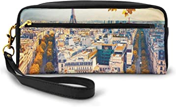Pencil Case Pen Bag Pouch Stationary,Aerial View Of Eiffel Tower At Sunset Paris France Cityscape Historical Landmark Image,Small Makeup Bag Coin Purse
