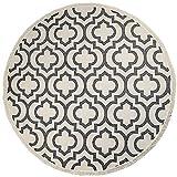 U'Artlines 120cm Handgewebter Teppich Rund mit Quasten Waschbare Groß Baumwollteppich Weicher Moderner Blumenmuster Teppich Wohnzimmer für Schlafzimmer