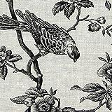 Fabulous Fabrics Leinenstoff Mesange Vogel – schwarz —