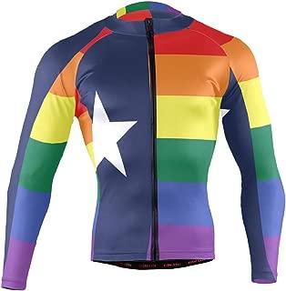 Ainans Saint Lucia Flag Men's Cycling Jersey Long Sleeve Bike Jacket Biking Bicycle Jersey Shirt