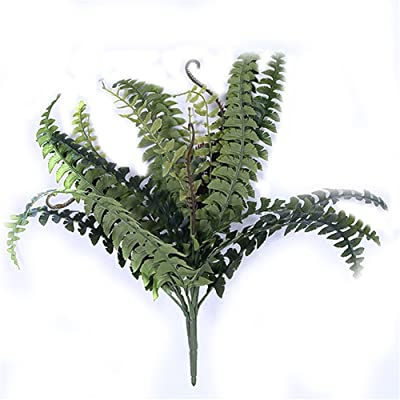BEIGU Set of 3 Artificial Boston Fern 16 Branches Bush Plant Arrangement Home Decoration For Wedding Centerpieces Indoor Decor