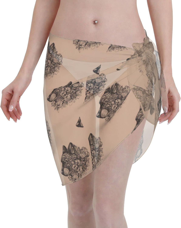 Side View of Wolf Head Women Beach Short Sarongs Cover Ups Beach Swimsuit Wrap Skirt Black