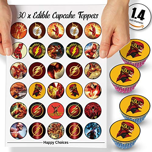 30 x Edible Cupcake Toppers Themed of Flash Party DC Collection of Edible Cake Decorations   Uncut Edible on Wafer Sheet