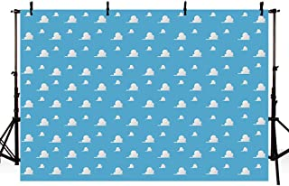 MEHOFOTO Blue Sky White Clouds Backdrop Cartoon Kids Birthday Party Boy Baby Shower Background Step and Repeat Dessert Table Banner Photo Studio Photography Props 7x5ft
