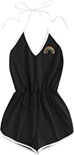 Women's Halter Sleeveless Short Jumpsuit Rompers Backless Playsuit