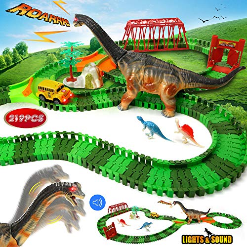 Urtoypia Dinosaur Toys Kids Race Track, 219PCS Dinosaur Track Set with Lights and Sound Electric Dinosaur Toy Car Racetrack for Kids Flexible Toy Car Race Track for 3 4 5 Year Old Boys Gift