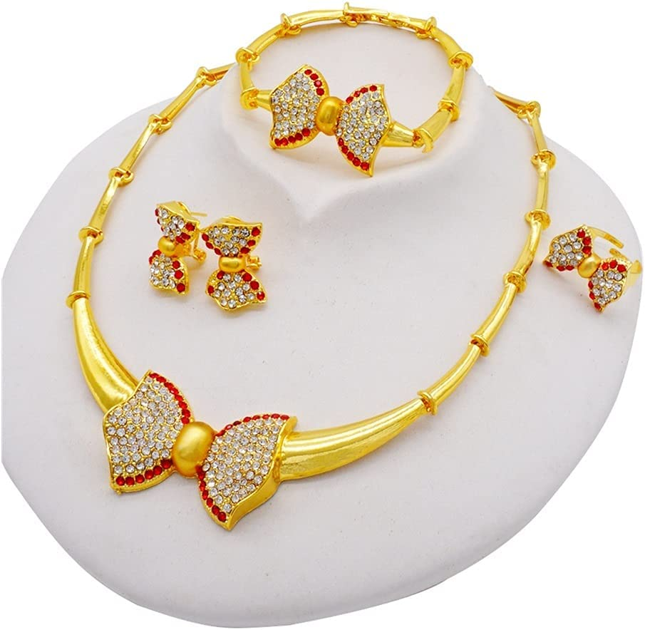 XiaoG Jewellery Set Dubai African Bridal Gifts Wedding Crystal Bow Jewelry Sets for Women Multicolor Necklace Earrings Set (Color : BJ952)