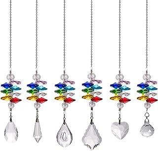 Crystal Suncatcher Chakra Crystal Prism Ball Hanging Glass Ball Pendant 6 of Pack for Wedding,Plants,Cars,Window Decor