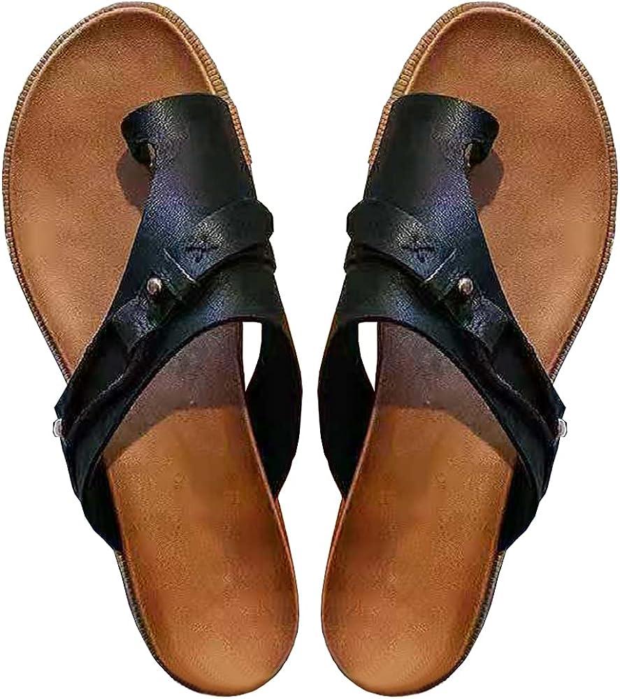 Women's Comfy Bunion Shoes Flop Open Toe Comfy Platform Slippers Casual Summer Slipper Big Toe Slide Wedge Sandals Flat Sandals
