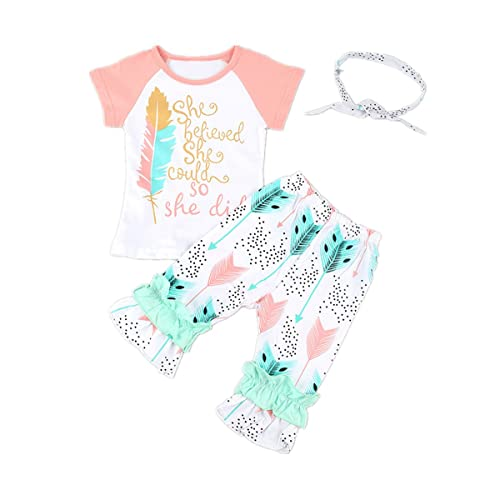 672499e91 Baby Girl Kids Colorful Clothes T-Shirt Tops+Bohemian Pants+Headband Outfit  Set