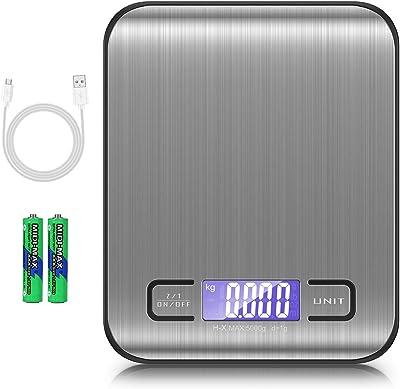 Bascula de cocina Digital Rechargeble, báscula alimentaria de 5 kg / 1 g, bascula digital cocina, pantalla LCD retroiluminada, función de tara con puerto de carga USB para hornear y cocinar