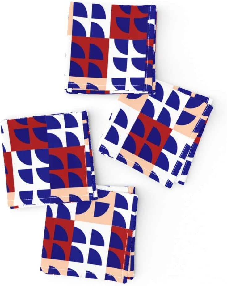 Roostery Cloth Cocktail Napkins Geometric Fun Squares Product Whit Save money Fans