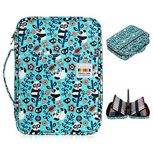 BTSKY Colored Pencil Case 220 Slots Pen Pencil Bag Organizer with Handy Wrap Portable- Multilayer Holder for Prismacolor Crayola Colored Pencils & Gel Pen Panda