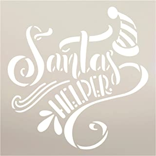 Santa's Helper Stencil with Hat by StudioR12 | DIY Fun Embellished Christmas Home Decor | Farmhouse Holiday Word Art | Cra...