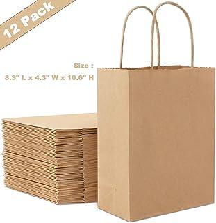 bolsas de papel kraft,bolsas de papel con asas,bolsas de papel marrón,bolsa de papel de regalo,bolsas de papel para fiesta cumpleaños boda (12 piezas)