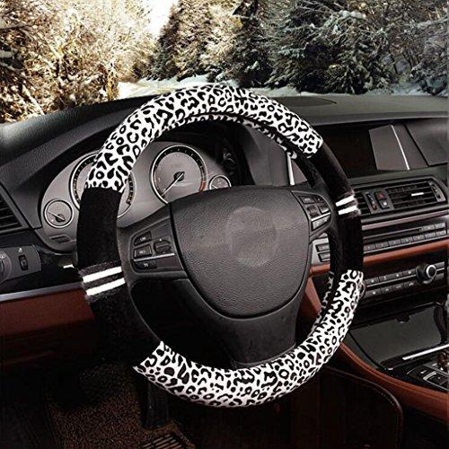 Madaye Dames auto's levert stuurwiel sets luipaard creatieve pluche winter zet de plaat 38cm A