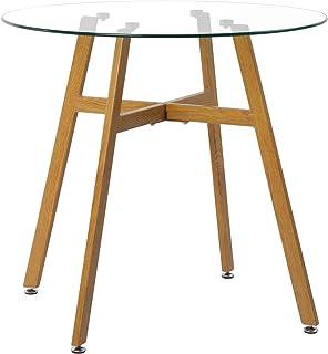 DORAFAIR Table de salle à manger ronde en verre 80 cm avec pieds en métal et finition chêne transparent 80 x 75 cm