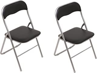 Set: 2x Klappstühle mit Metallrahmen und Kunstlederbezug, silber-schwarz