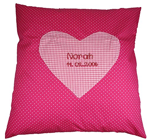 Namenskissen zur Taufe pink 40x40 cm groß, Mädchen Geschenke, Geschenke für Mädchen, Geschenke für Kinder, Kissen pink, Geschenkideen Weihnachten