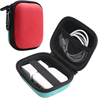 Iksnail Earbuds Carrying Case, Small Zipper Case for Bluetooth Earphone, Portable Storage Earbud Pouch Bag for Headsets/USB Cables(Red+Blue)