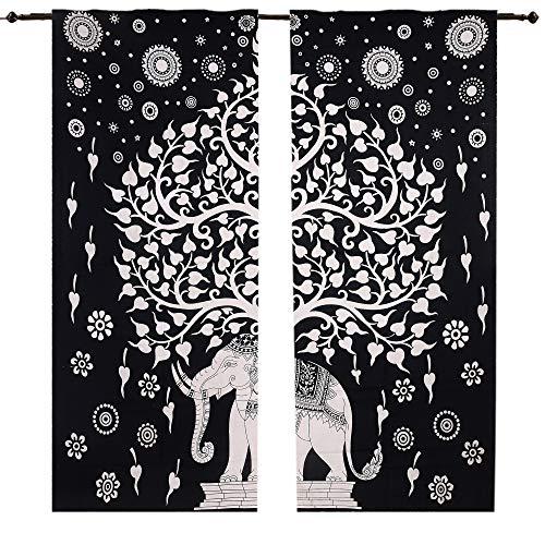 Tree Good Luck - Juego de 2 cortinas para ventana, diseño de mandala, juego de 2 unidades, diseño de mandala