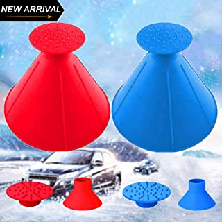 Lemonfreed Ice Scraper-Round Car Windshield Snow Scraper-Magic Funnel Snow Removal Tool Cone-Shaped Windshield Ice Scraper(2 Pack)
