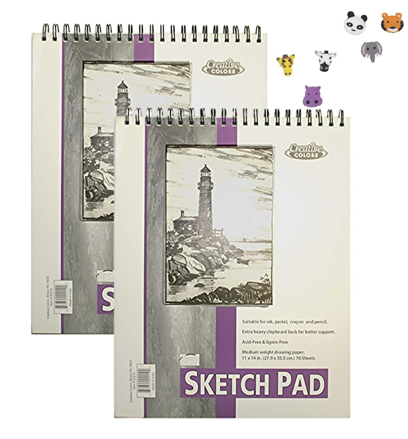 "Creative Colors 11x14"" Sketch Pad, Pack of 2, 140 Sheets (120 Lb) 70 Sheets Each, Spiral-Bound Recommendable for Ink, Pastel, Crayon and Pencil Bonus 3 erasers"