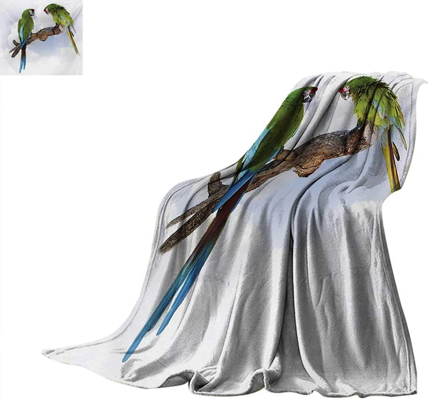 Parredblanket Throw blanketTwo Parred Macaw on a Branch Talking Birds Clever Creatures of The Natureoutdoor Blanket 60 x50  Green White Brown