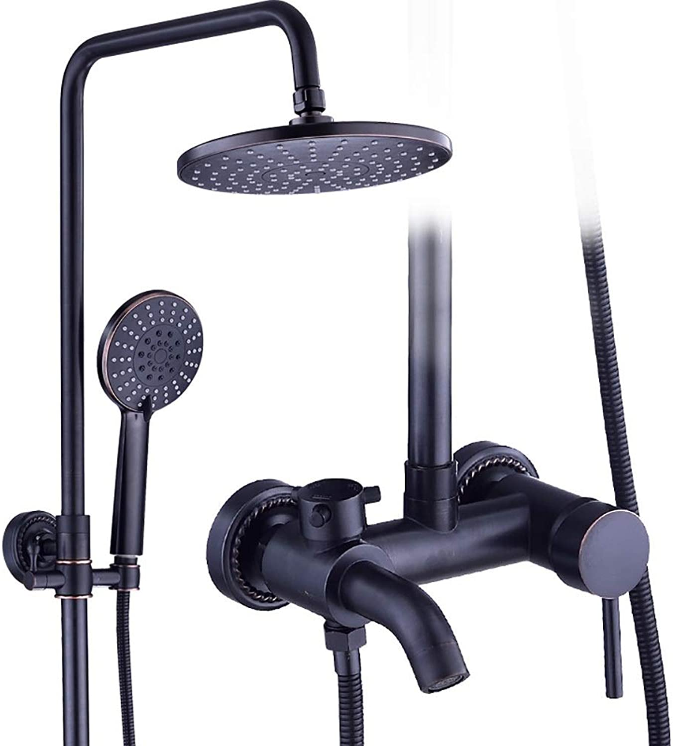 YYF-SHOWER Shower Systems Shower Set, European Retro Copper Bathroom Cold hot Water Tap Wall-mounted Lifting Rod Hand Shower Ceramic Spool (color   BLACK, Size   A)