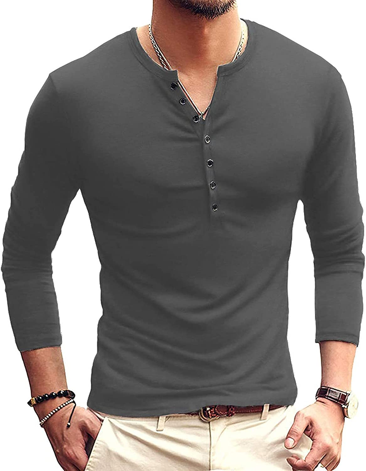Men's Henley Shirt, V-Neck with Button Placket Plain T-Shirts Casual Shirt Long Sleeves Autumn Casual Regular Fit Tops