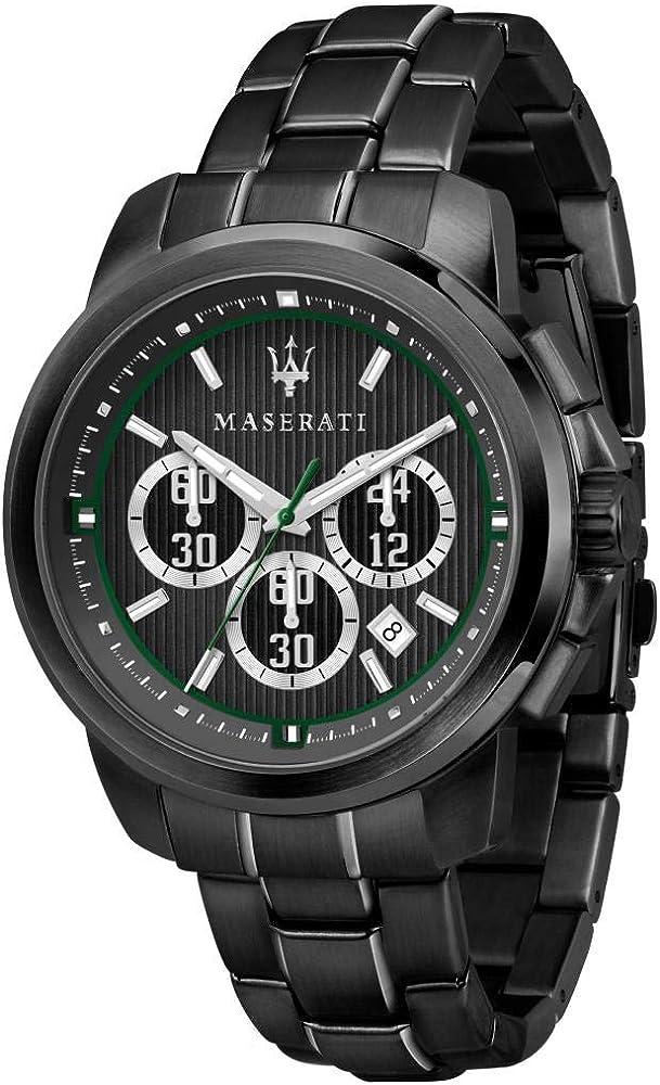 Maserati orologio cronografo  da uomo, collezione royale,  in acciaio e pvd nero 8033288856443
