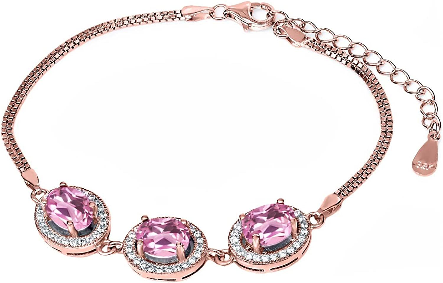 10.51 Ct Oval Light Pink Created Sapphire 18K pink gold Plated Silver Bracelet
