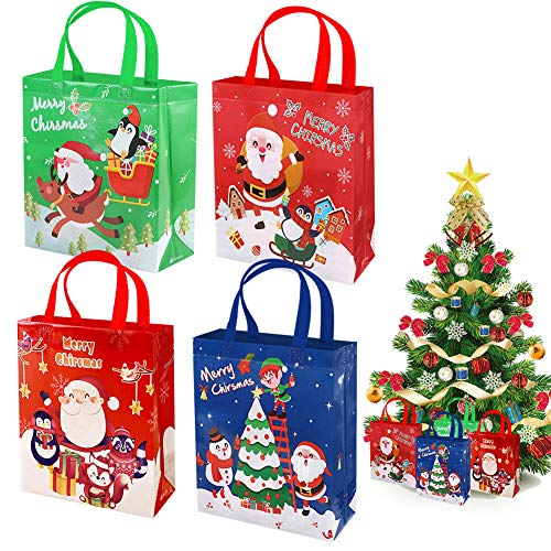 Weihnachtstüten Geschenktaschen zum befüllen 4Pcs, Wiederverwendbar Taschen Weihnachten Geschenktüten mit Griff, Große Faltbare Einkaufstasche Santa Geschenktüte Tote Bag für Geschenke Party Favor
