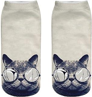 DEELIN Sale Christmas Socks Womens Socks Unisex Funny 3D Fashion Cat Printed Casual Socks Cute Low Cut Ankle Socks Mens Fu...