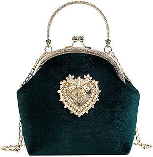 Damen Elegante Abend Clutch Bag - Retro Handtasche Herz Design Hochzeit Braut Samt Geldbörse Grün