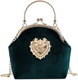Ladies Elegant Evening Clutch Bag Heart Design Wedding Party Velvet Purse