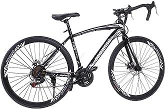 Begasso Shimanos Aluminum Full Suspension Road Bike 21 Speed Disc Brakes, 700c Wheel Suspension Fork Rear Suspension Bic...
