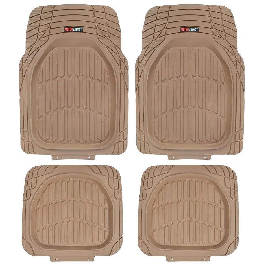 Motor Trend MT-921-BG FlexTough Tortoise - Heavy Duty Rubber Floor Mats for Car SUV Van & Truck - All Weather Protection - Deep Dish (Tan Beige)