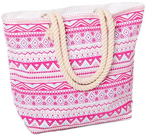 AIREE FAIREE Strandtasche Damen 47 x 35 x 15cms Large Sommer Leinentragetaschen Seil Aztec Muster Griff